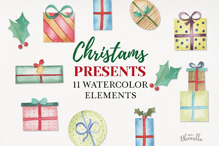 Christmas Watercolor Gifts Presents Bows Elements Bows Holly