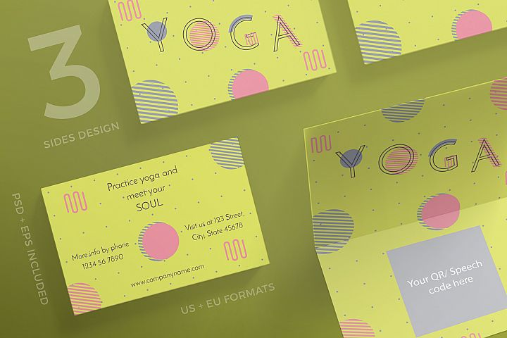 Yoga Workout Business Card Design Templates Kit