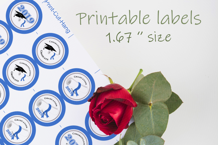 Blue Printable Labels Grade Party 2019 - size 1.67 inches
