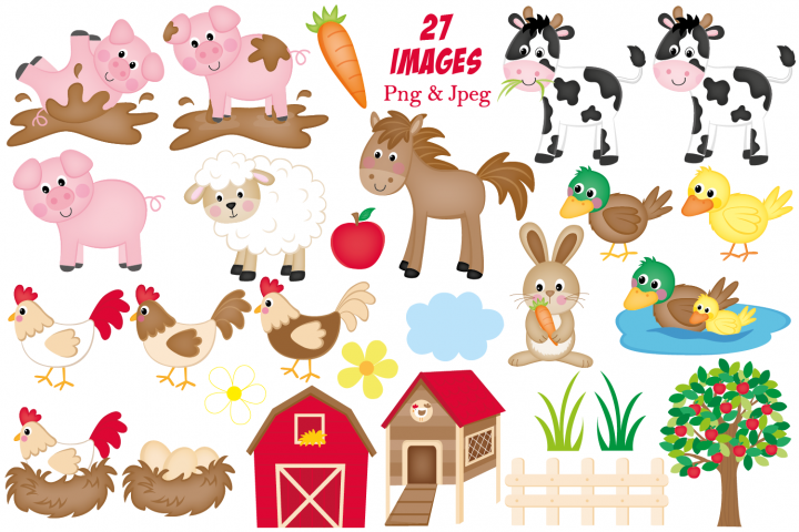 Farm clipart, Farm animals graphics & illustrations - Free Design of The Week Design1