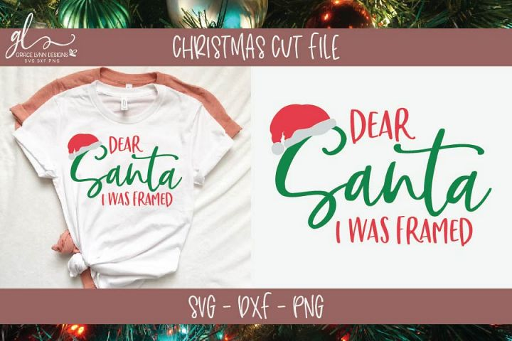 Dear Santa I Was Framed - Christmas SVG Cut File example 1