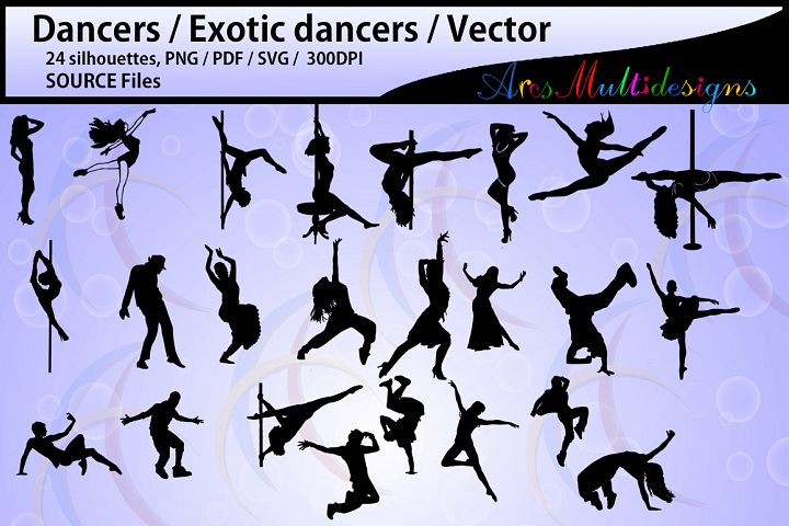 dancer silhouettes / HQ / SVG / PDF / Png / Dxf /silhouettes / vector dancer couples / female dancer / male dancer / instant download