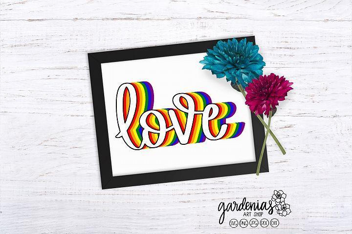 Pride Love LGBT Rainbow | Pride Clip Art | Love SVG Cut File