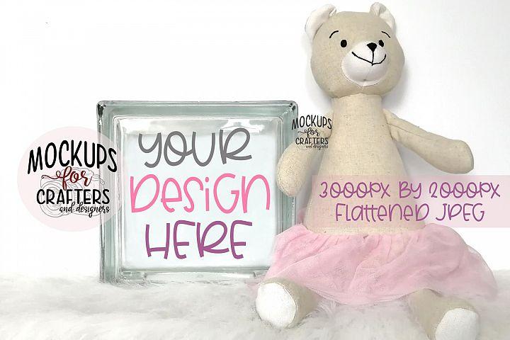 GLASS BLOCK Mock-Up - Baby, Nursery, Tutu Bear
