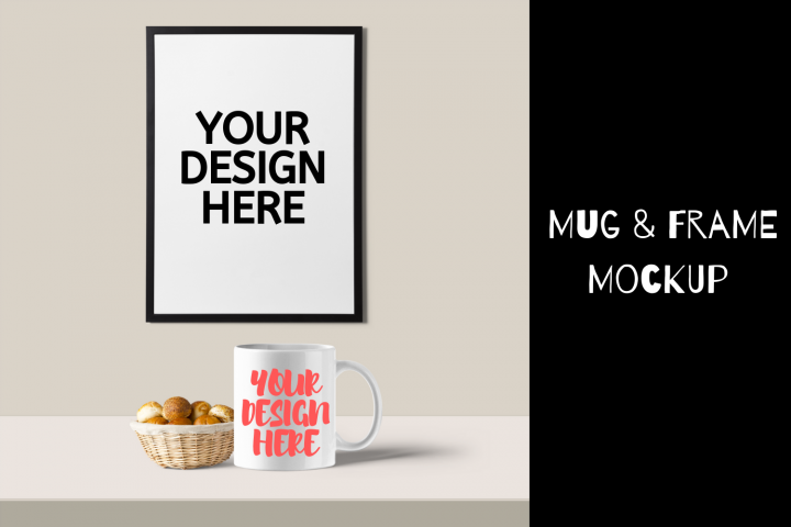 White Mug & Frame Mockup With Basket Of Buns