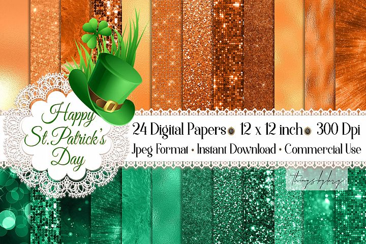 24 Luxury Saint Patricks Day Digital Papers Glitter Sequin