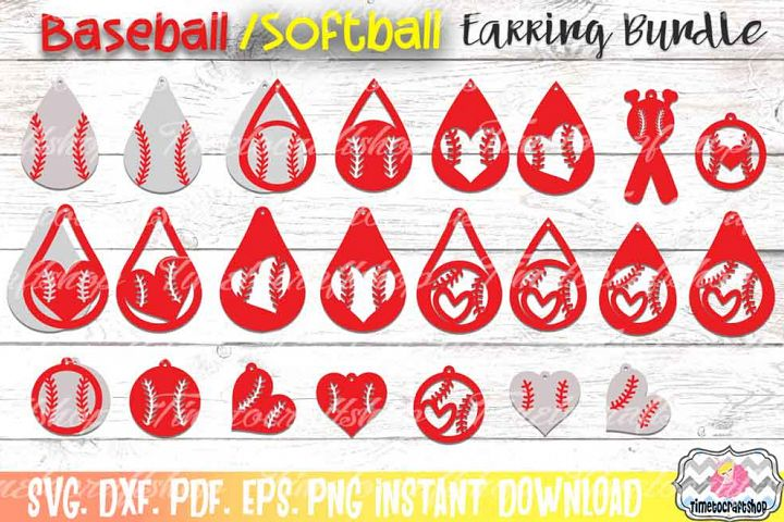Sport Baseball Softball Earring Template Bundle