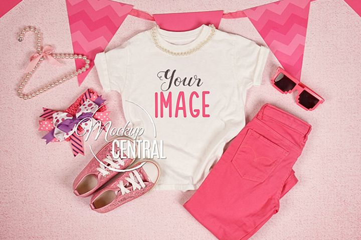 Youth Girls White T-Shirt Mockup Flatlay, Child Shirt JPG