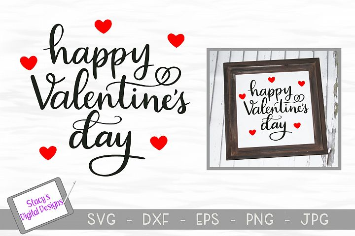 Happy Valentines Day SVG - Valentine cut file, handlettered