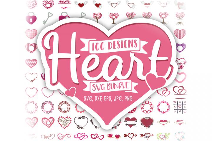 Heart SVG Valentine Bundle Monogram SVG, DXF, PNG, EPS, JPG
