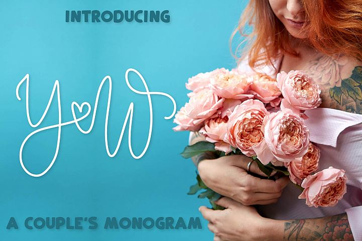 Couple Monoline Monogram Font - Perfect For Weddings!