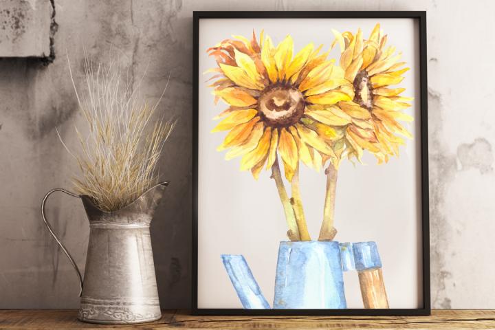 Watercolor Sunflowers Clip Art & Print