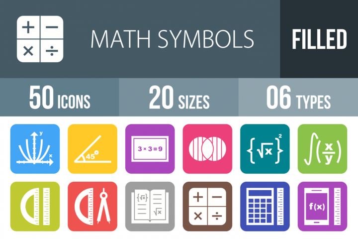 50 Math Symbols Filled Round Corner Icons