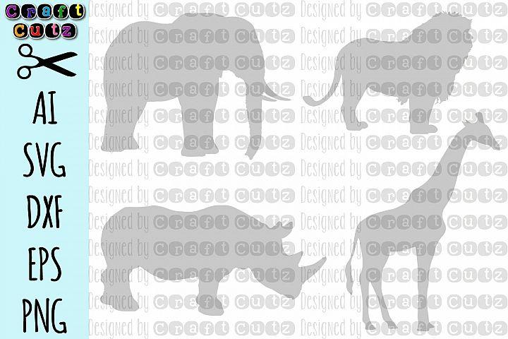 Safari, Giraffe dxf, Elephant cut file, Lion SVG, Rhinoceros