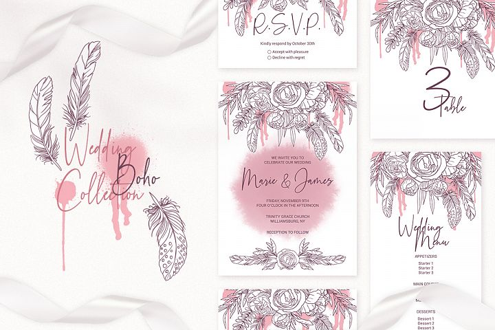 Boho Wedding Invitation Cards. Floral Printable Template example image 1