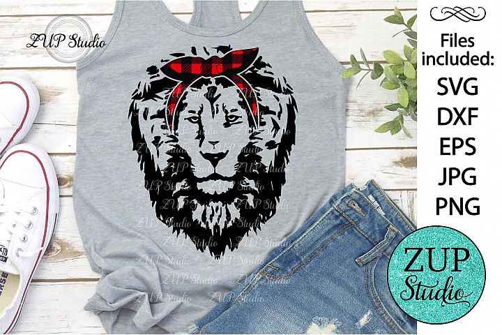 Lion Face with Bandana Design SVG Digital Cutting files 425
