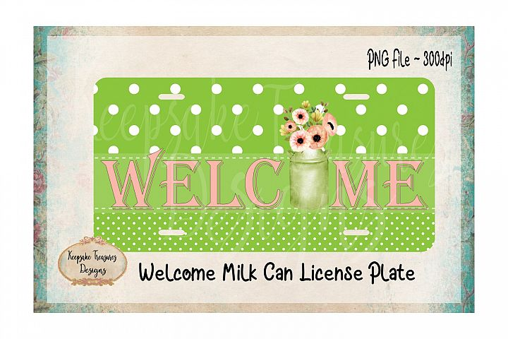 Welcome Milk Can Sublimation PNG