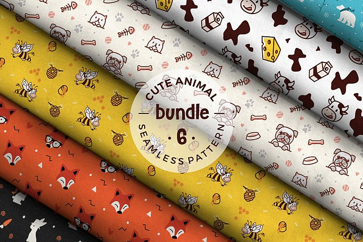 cute animal seamless pattern bundle