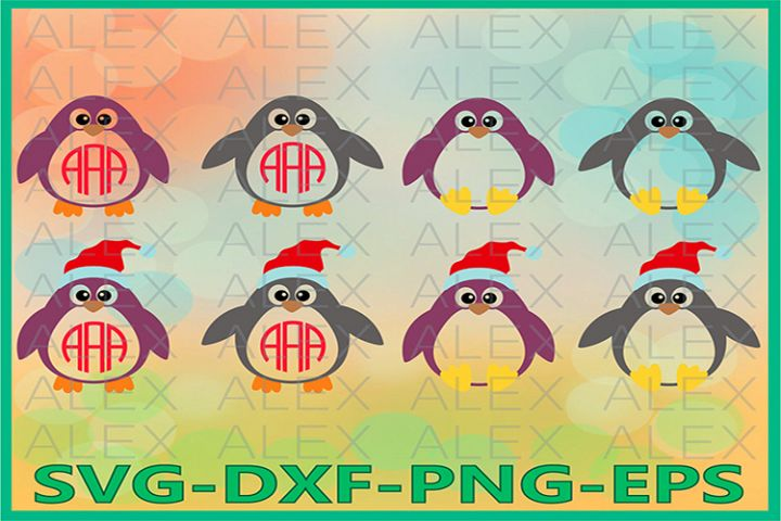 Penguin Monogram SVG, Penguin png, Christmas Penguin
