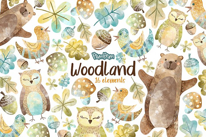 Woodland Watercolor Cliparts