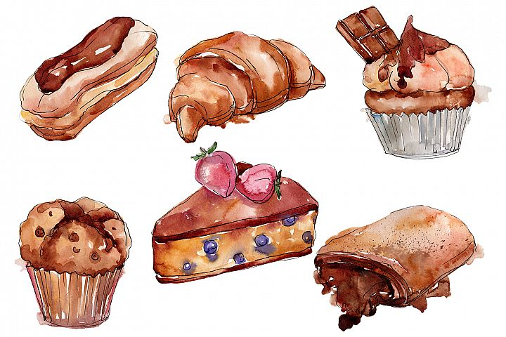 Dessert Cake with Chocolate and Croissant Watercolor png