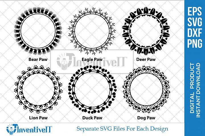 Animal SVG | Paw SVG | Circle SVG | Monogram SVG| Frame SVG