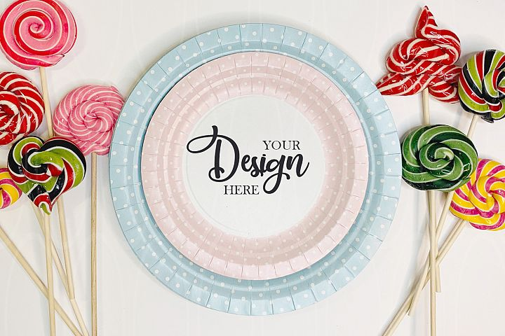 Blue and pink plates mock up Candies flatlay Styled Stock