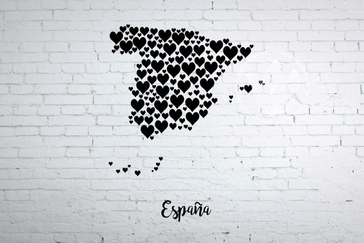 Spain heart map jpg, png, eps, svg, dxf, pdf