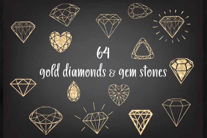 Gold and gems clipart, Diamonds clip art, Wedding clip arts