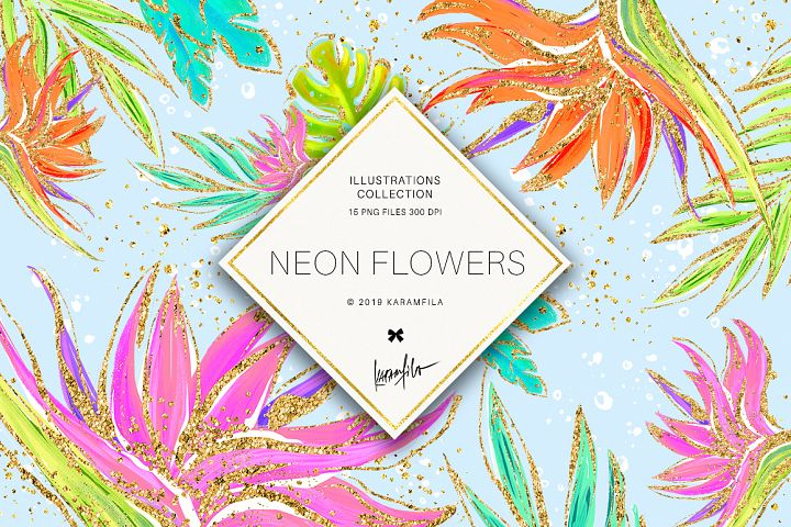 Neon Tropical Flowers Clipart