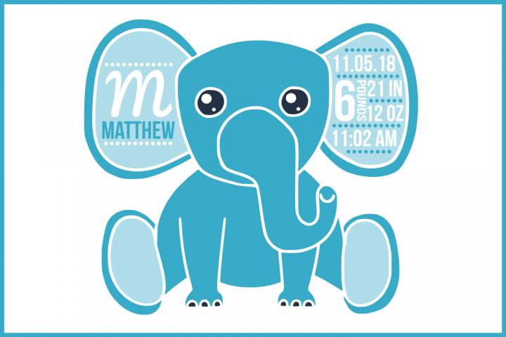 Birth stats svg, birth stats template, elephant svg file