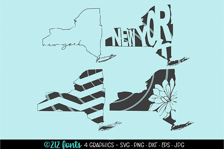 4 - New York State Map Graphic Cut File DXF PNG JPG SVG