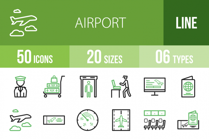 50 Airport Line Green & Black Icons
