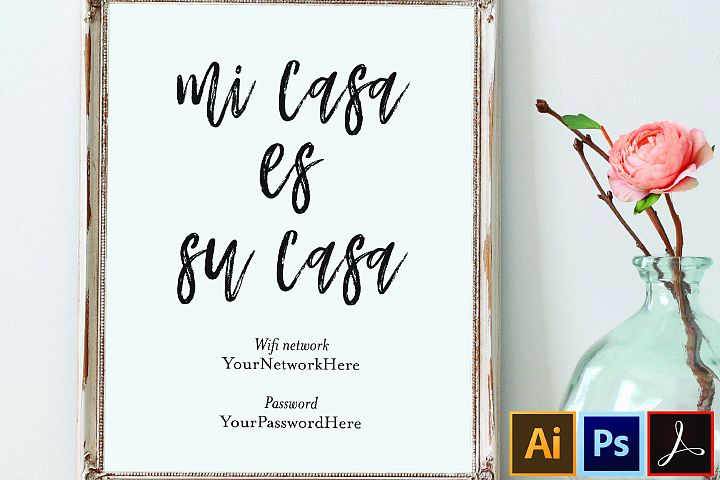 printable wifi password sign guest room sign