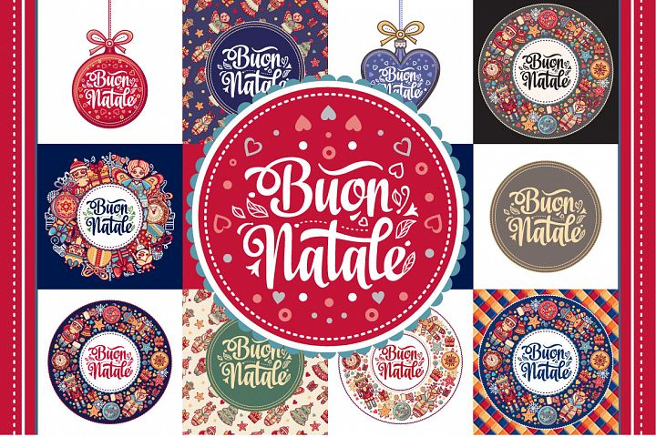 Christmas template. Buon Natale. Bundle. Winter holiday in