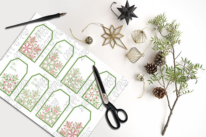 Printable Holiday Gift Tags, Snowflake To/From Tags