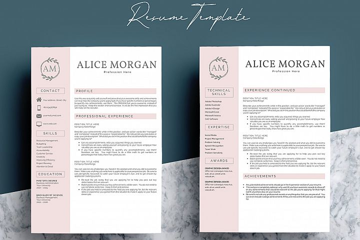 Professional Creative Resume Template - Alice Morgan - Free Design of The Week Design2