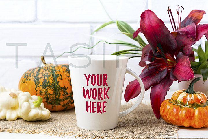 White big coffee latte mug mockup with pumpkin and red lily