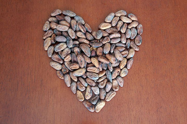 Cacao Beans in Heart Format