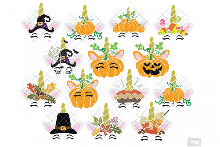 Pumpkin Unicorn SVG in SVG, DXF, PNG, EPS, JPEG