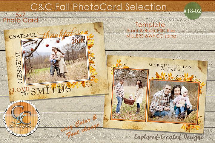 Fall Greatful,Thankful, Blessed Photo Card 18-02