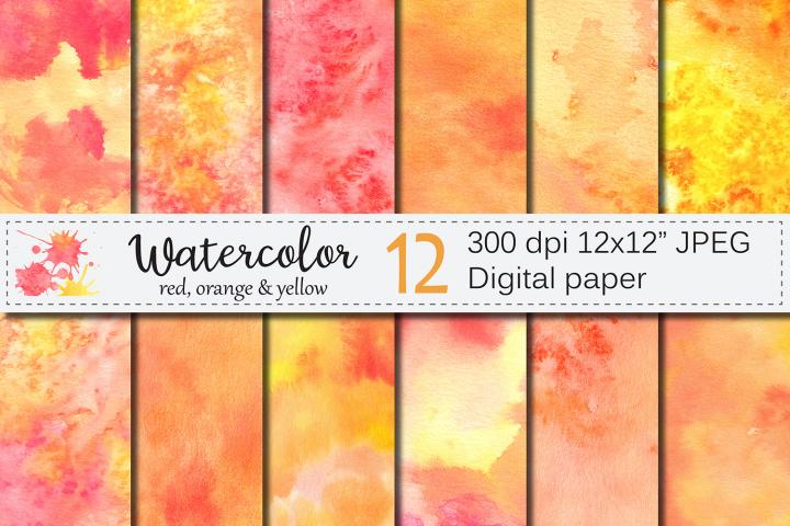 Orange Red Yellow Watercolor Digital Paper, Texture