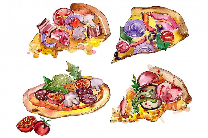 Tasty Italian pizza PNG watercolor set