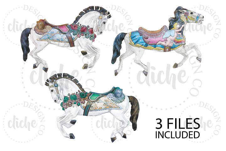 Watercolor Carnival Horse Clipart