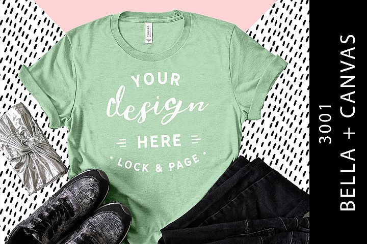 1dcd702b128aca Heather Prism Mint Bella Canvas 3001 T-Shirt Mockup Flat Lay