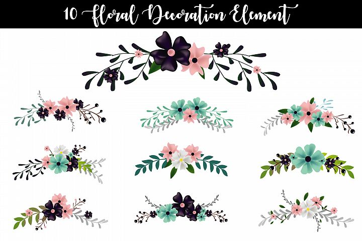10 Floral Decoration Element Vector