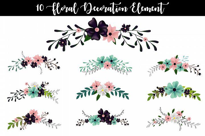 10 Floral Decoration Element Vector