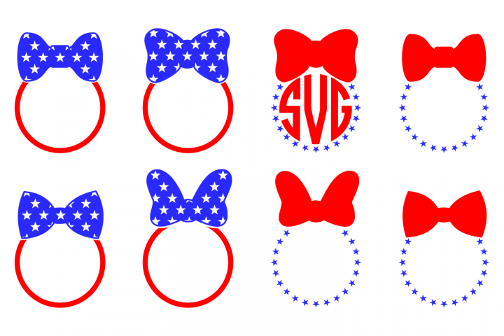 Bow Monogram SVG 4th of July Bow Monogram SVG