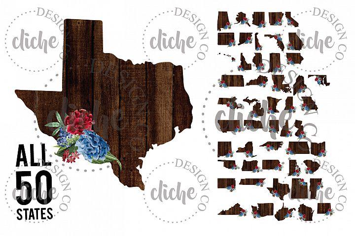 Floral State Sublimation Design Bundle