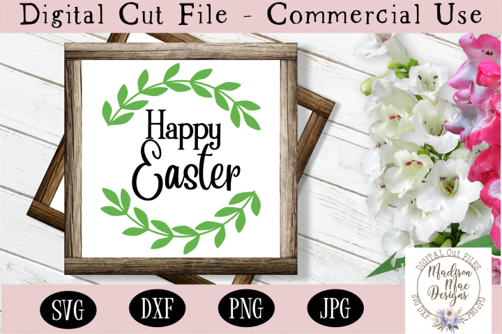Happy Easter SVG, Easter Wreath Sign Cut File